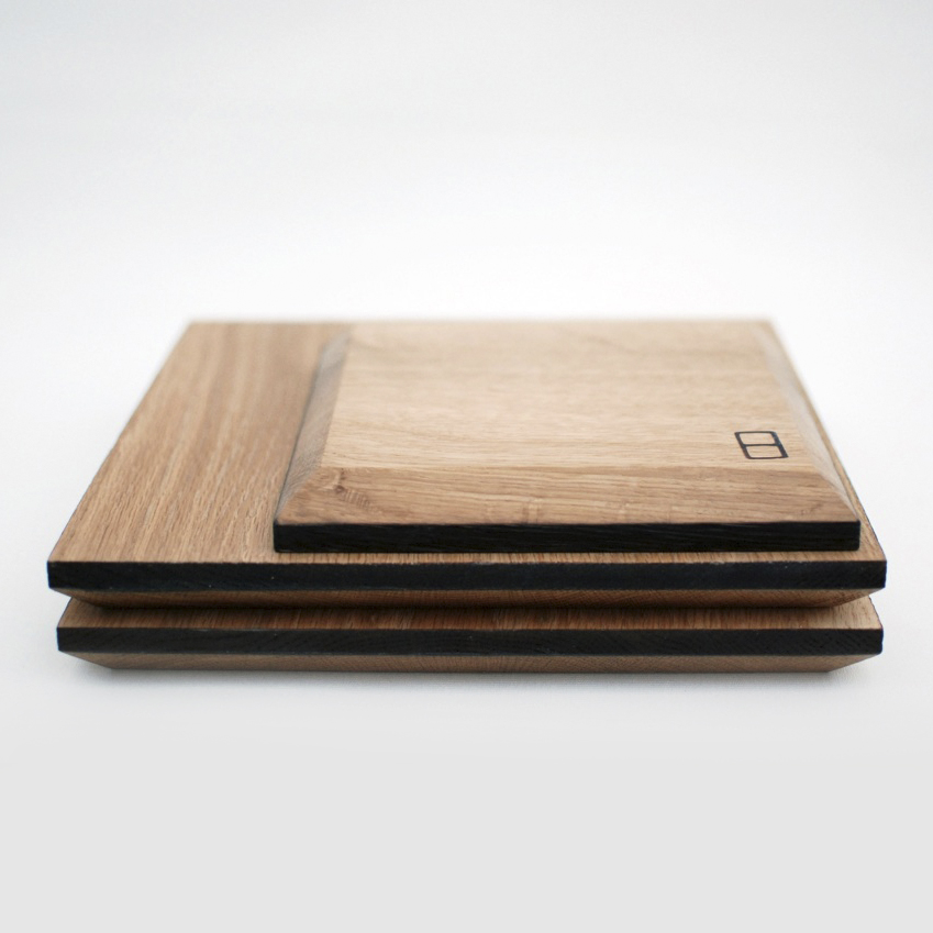Heather Scott's solid oak chopping boards are beautifully simple and well made pieces of design, with blackened edges and a chamfer on the underside to make them easier to pick up.