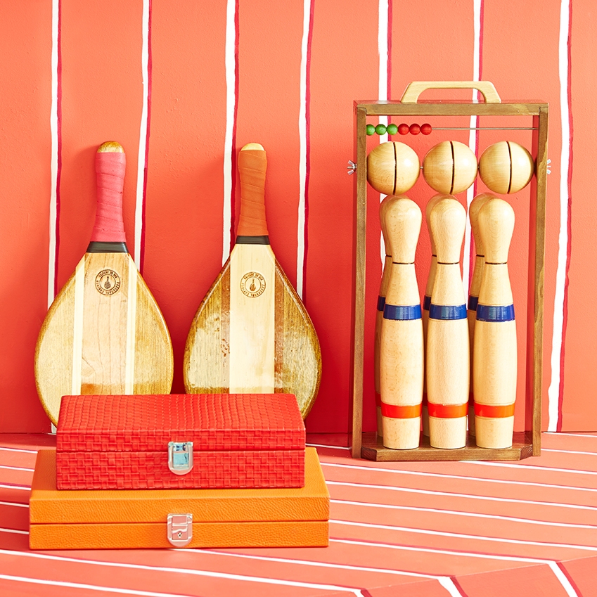 'Frescobol' beach bat set, £150; skittles set, £95; backgammon board, £650; poker set, £795, all The Conran Shop