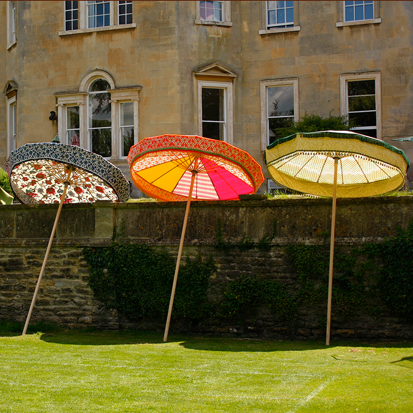 Quirky and colourful, Sunbeam Jackie's giant parasols are each more than two metres in diameter. £1,450 (sunbeamjackie.com)