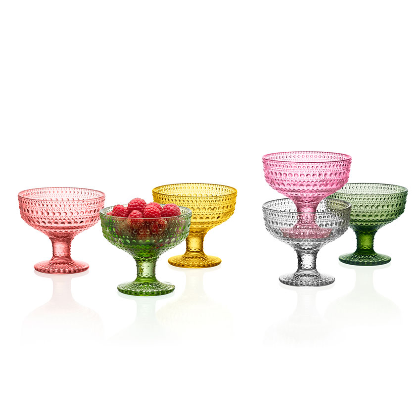 These colourful 'Kastehelmi' serving dishes by Toikka for Iittala are perfect for sorbets and ices. From £21 each (iittala.com)