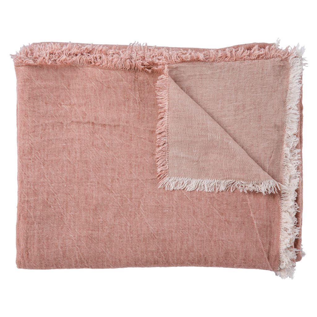 Pale Rosewood linen throw from Vice Versa.