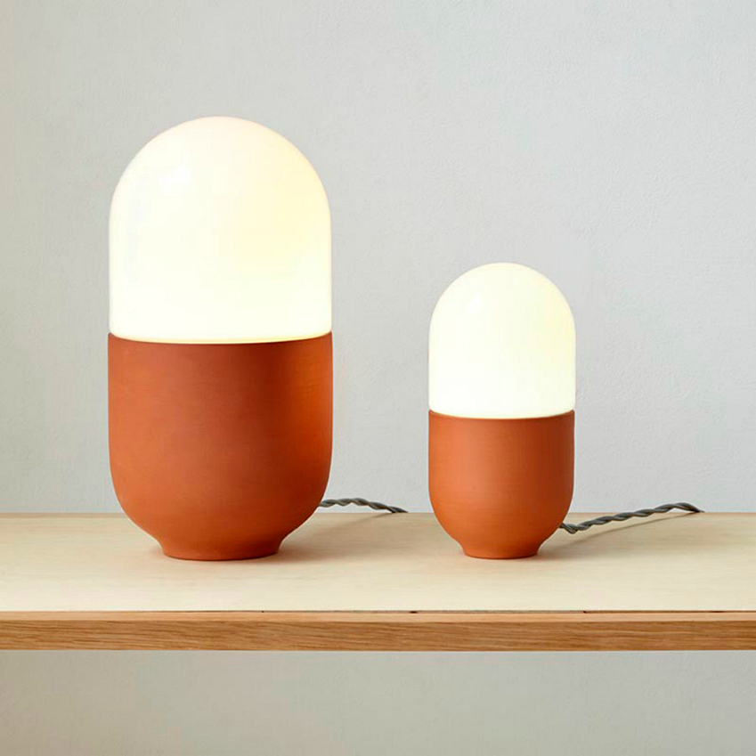 """""""Such and such Duo Terracotta"""" table lamp by Hand and Eye Studio from Such and Such (suchandsuch.co)"""