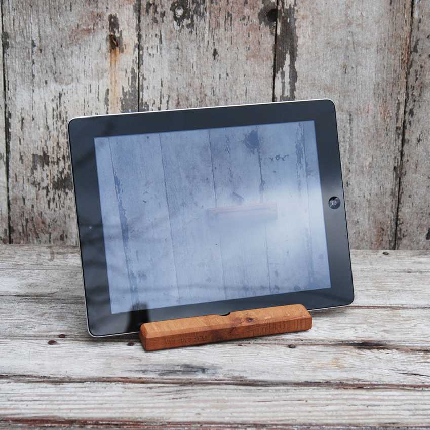 When craft meets technology: Reclaimed oak iPad mount by Peg & Awl, £44.50, Such and Such