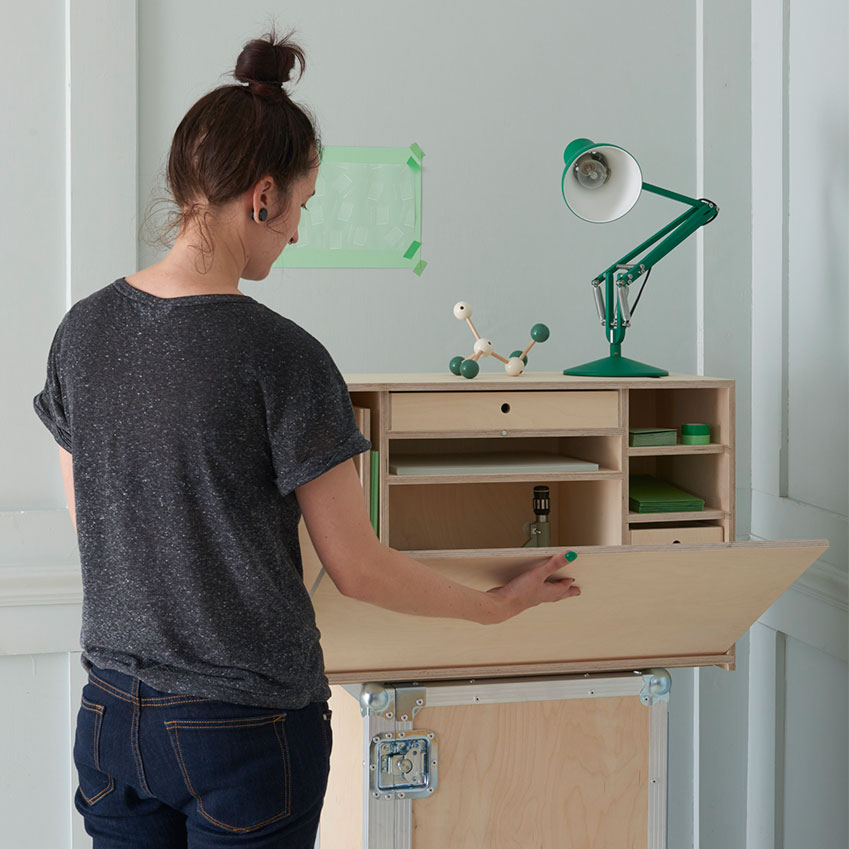 Baines & Fricker's portable plywood desk, from £750