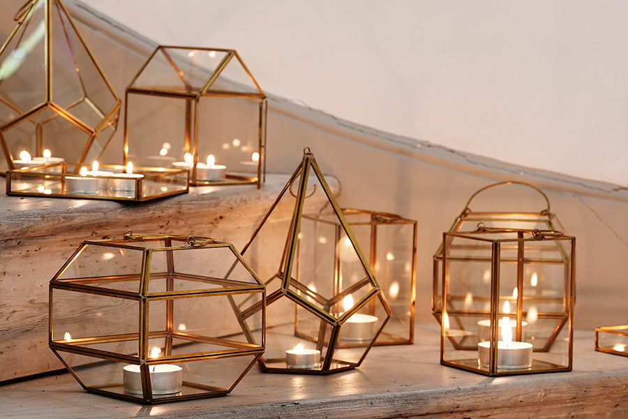 Oliver Bonas hurricane lamps and lanterns. From £15 each