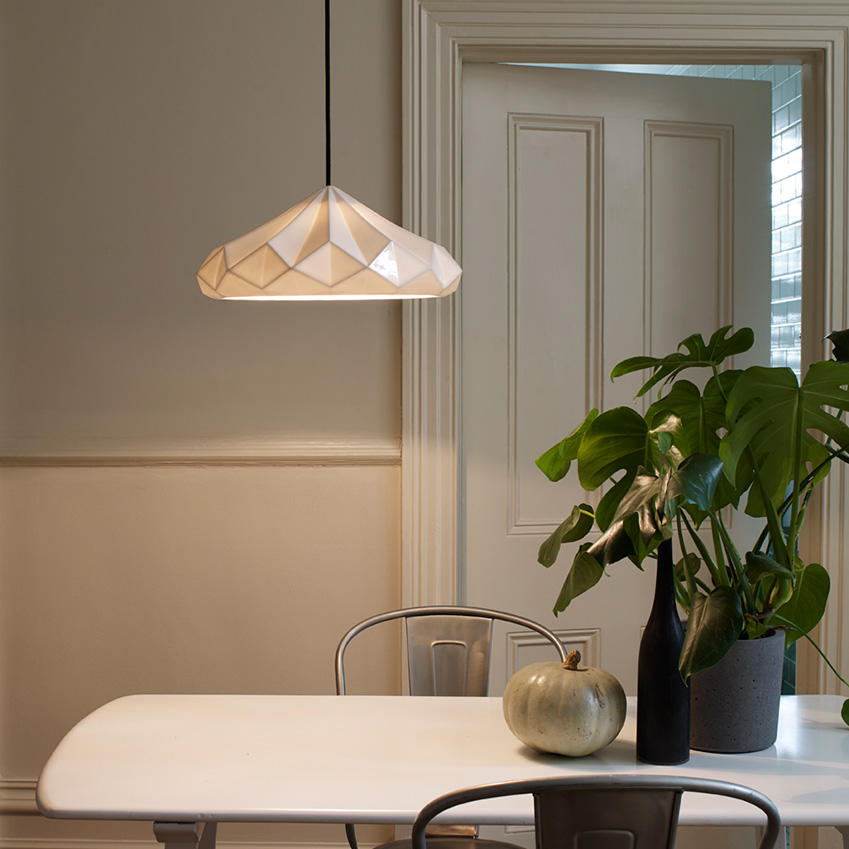 Hatton pleated lights by original btc elle decoration uk for Dining room 3 pendant lights