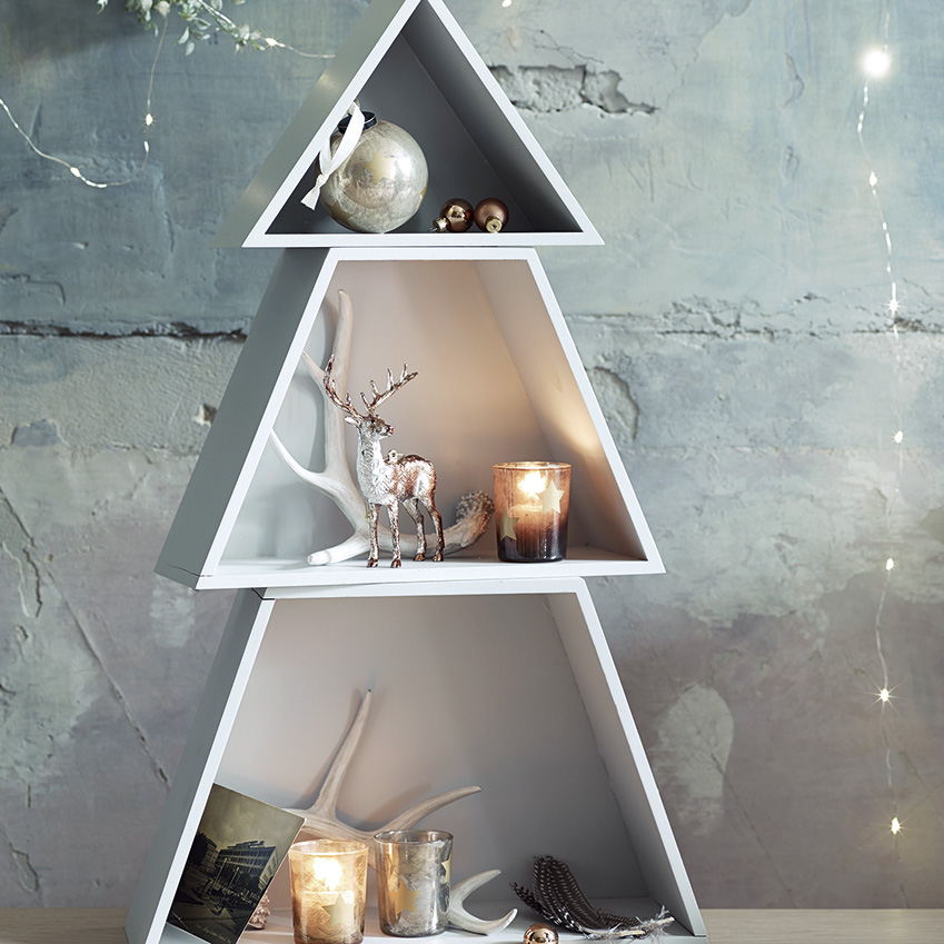 Cox & Cox – Fill this trio of shelves with ornaments and candles to create a pared-back –and foliage-free – festive corner (from £45; coxandcox.co.uk)