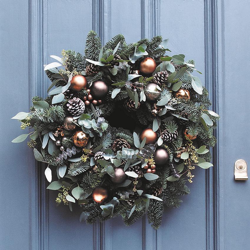Fresh Christmas wreath, £120, Cox + Cox (coxandcox.co.uk)