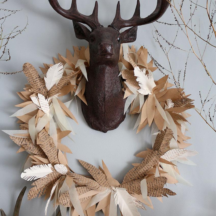 DIY paper feather wreath, designed by Craftberry Bush (craftberrybush.com)