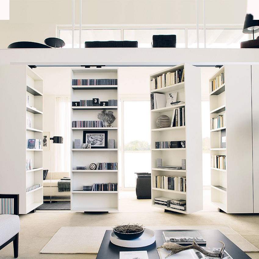 Image 1 of 4: The units that make up this 'Vista Girevole' bookcase system by Massimo Luca for Albed are open on both sides. Each one can be rotated on its axis and attached to a sliding panel. From £1,725 (albed.it)
