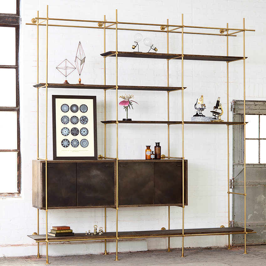 Image 2 of 4: Geometric shapes and linear forms give storage units a luxe edge. 'The Collector's Shelving System', £7,533 as pictured, Amuneal (amuneal.com)