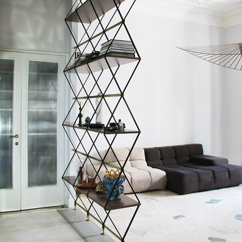 Image 4 of 4: This minimalist shelving unit is also a clever room partition for open-plan homes. 'Romboidale' bookshelf, from £3,717, Pietro Rosso (pietrorosso.com)