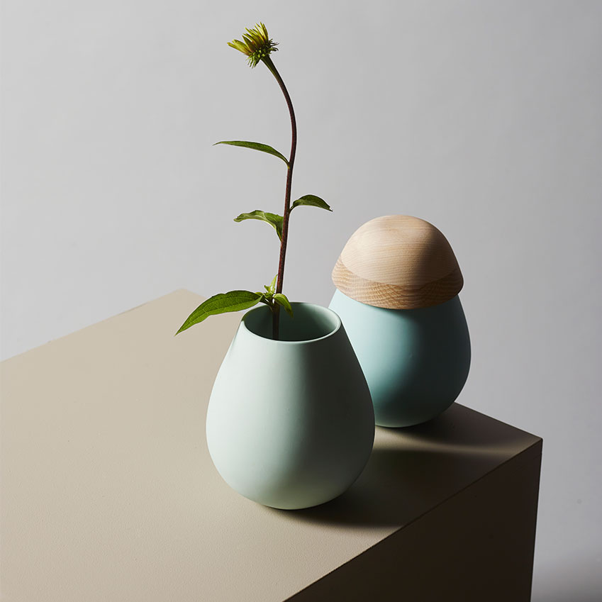 'August' (2015) wood and porcelain vessel by Kristine Bjaadal