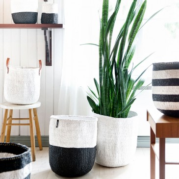 These colourful 'Kiondo' storage baskets are made from recycled plastic and sisal by artisans in Africa for Finnish brand Mifuko