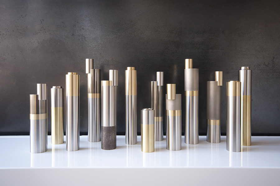 These modern mixed-metal candlesticks by US studio BA Design have an industrial yet opulent look. Hand-machined from brass, stainless steel and nickel-plated steel, they make beautiful ornaments. Play with size, scale and material as you arrange a cluster together for maximum impact. We're coveting a set with the tactile matt finish, pictured above. From £295 for a set of three (bafdf.com).