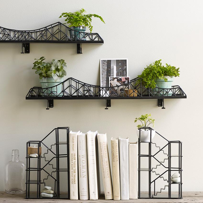 'Iron Bridge Shelf', £79.95; 'Stairway Bookend', £79.95