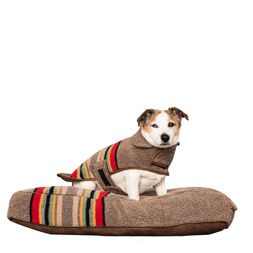 'Yakima' pet bed, from £95; coat, from £48