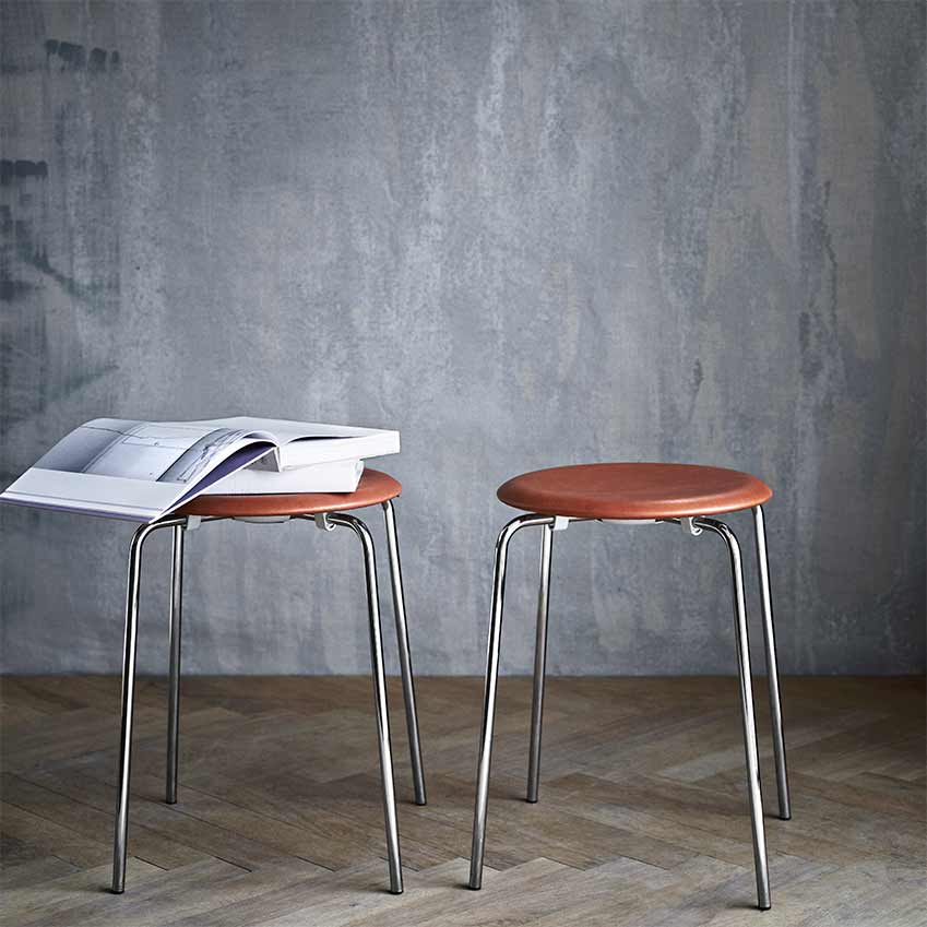 'Dot' stool, originally designed by Arne Jacobsen in 1954 for Fritz Hansen. Newly reissued, £210, Twentytwentyone
