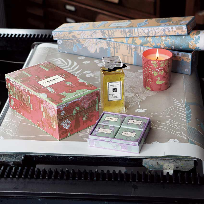 Marthe Armitage's packaging designs for Jo Malone London. 'Green Tomato Leaf' candle, £44; bath oil, £56; soaps, £30 for a set of four.