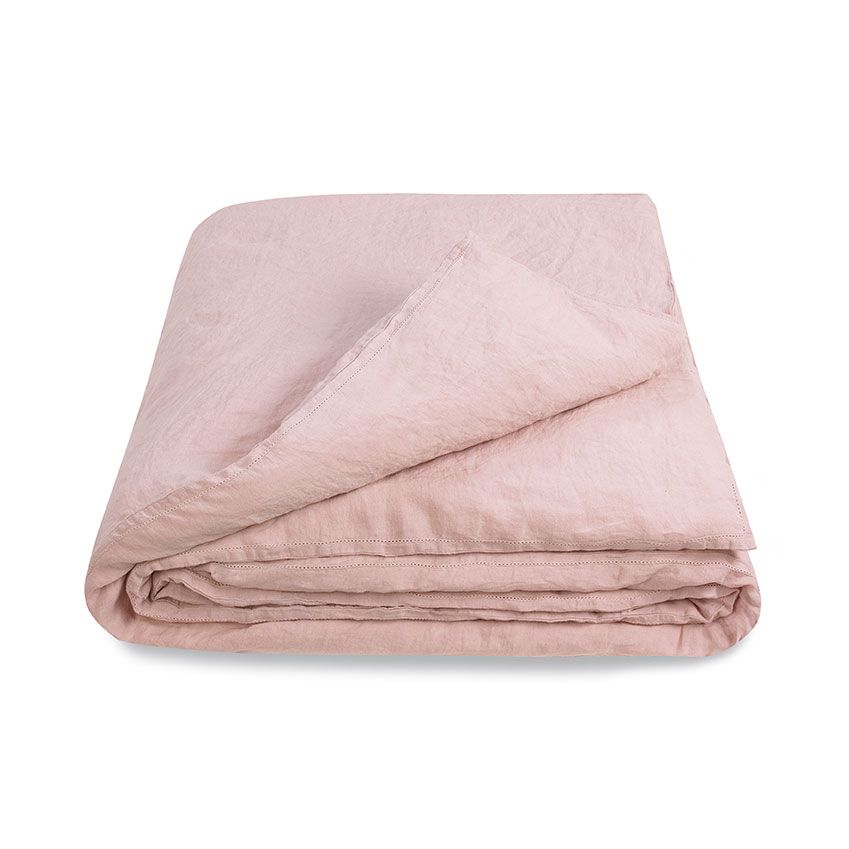 Crushed linen 'Tea Rose' duvet cover, from £215, Volga Linen (volgalinen.co.uk)