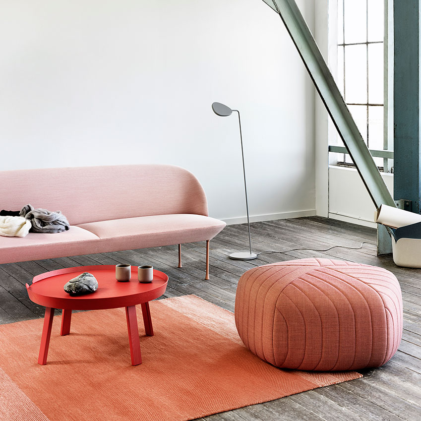 Room set by Muuto including 'Five' pouf (£807)  and 'Oslo' sofa (£2,695), both by Anderssen & Voll, Nest (nest.co.uk) (Photography: Petra Bindel)