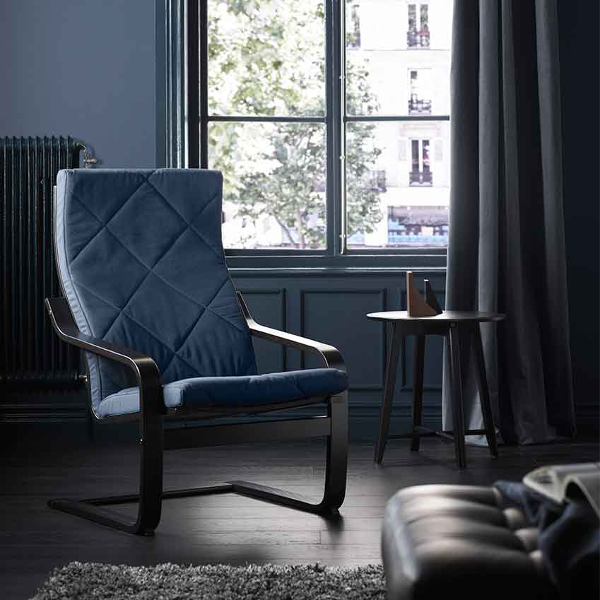 This easy chair is one of Ikea's modern classic designs, the 'Poång', still as popular now as it was when it was created in 1976 by Japanese designer Noboru Nakamura. Affordable, practical and eternally stylish, the 'Poäng' is the ultimate example of Ikea's concept of Democratic Design – with 1.5 million sold globally every year.