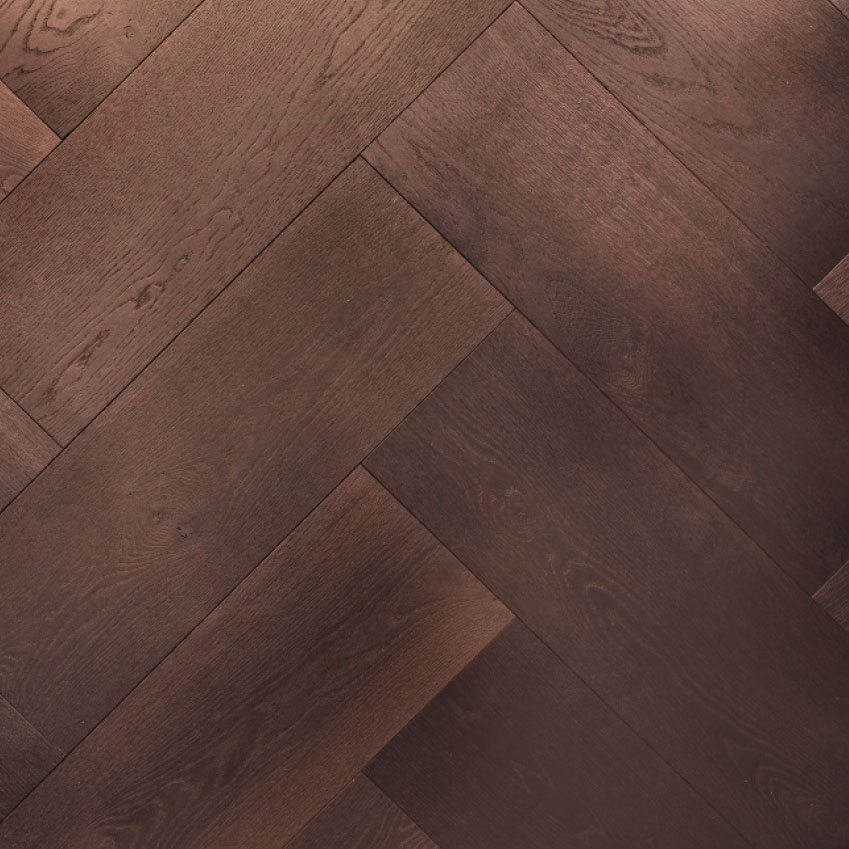 Herringbone: This classic parquet works well in period and modern properties. If space allows, extra-wide boards like this 'Nero oak' giant herringbone by Element 7 make a statement. From £254.40 per square metre (element7.co.uk)