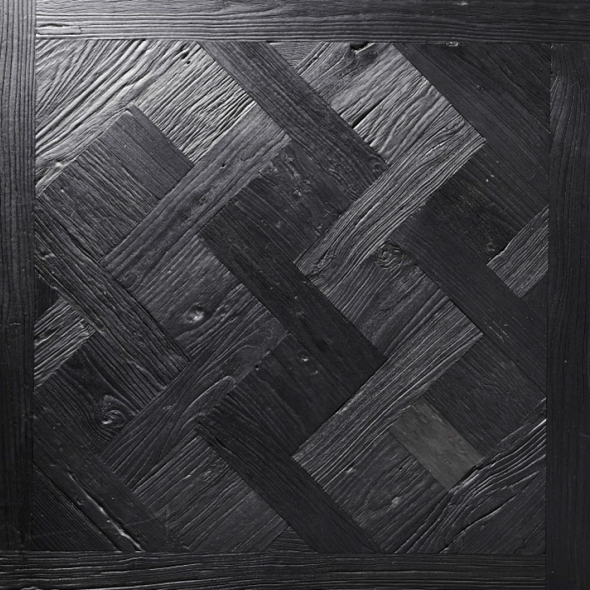 Parquet de Versailles: This historic pattern replaced marble floors in the Palace of Versailles in 1684. Solid black charred Elm from the 'Vault' collection by Ted Todd adds a modern edge. £359 per 98 x 98 centimetre panel (tedtodd.co.uk)