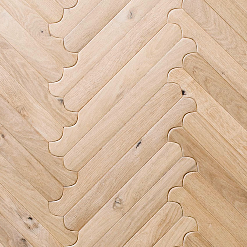 'Biscuit' parquet by Patricia Urquiola: These boards with bevelled edges and curved ends can be laid in a number of formations for a playful take on traditional parquet. £192 per square metre, Listone Giordano (listonegiordano.com)
